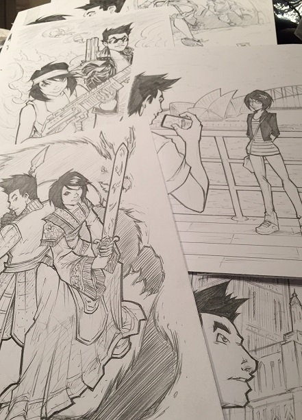 5 Seconds, Jake, Ellie, Kickstarter, Creative Arts Partnership, Graphic Novel, Dragons, Sketches, Proof, Cover